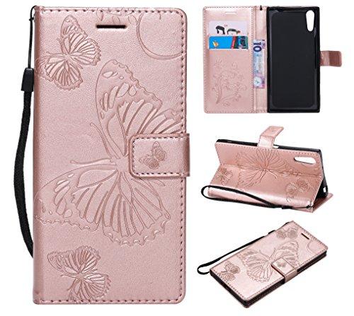 FEYYXI Handyhülle für Sony Xperia XZ/XZs Hülle Leder Schutzhülle Brieftasche mit Kartenfach Stoßfest Handyhülle Hülle für Sony Xperia XZ/XZs - FEKT42403 Rosa Gold
