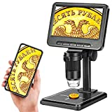 """5"""" Coin Microscope 1200X with 32GB SD Card,Leipan 1080P Wireless LCD Digital Microscope with 8 LED Lights,PC View,Photo/Video Capture for Kids Adults,Compatible with Windows iPhone Android iPad"""