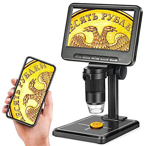 5' Coin Microscope 1200X with 32GB SD Card,Leipan 1080P Wireless LCD Digital Microscope with 8 LED Lights,PC View,Photo/Video Capture for Kids Adults,Compatible with Windows iPhone Android iPad