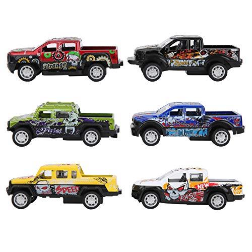 Modelo de camión de simulación, 6 Piezas, Modelo de Coche Fuerte y Hermoso, para niños, niños, Adultos, hogar(Devil Pickup (a Set of 6 Models))