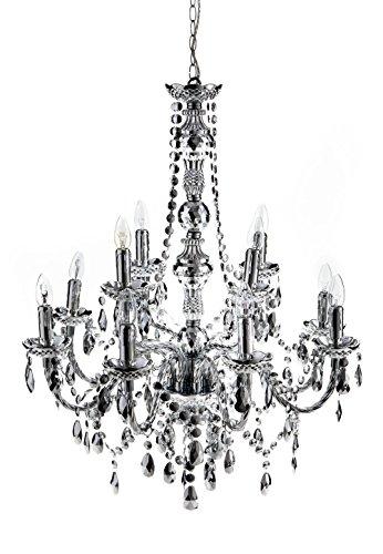 Wink design -Boston Lustre 12 bras - argenté - diamètre 79 cm/hauteur 78 cm