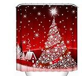 sun-shine Custom Duschvorhang Weihnachten Dekoration Stoff im europäischen Stil Hintergr& Schimmelresistent Wasserdicht mit Haken Set für Badezimmer, Textil, Christmas 1, 66x72IN