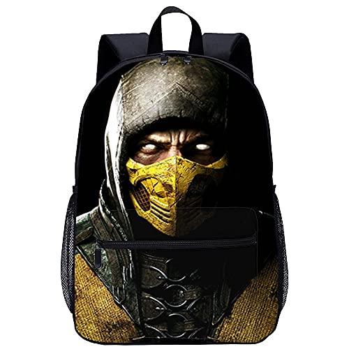 3D-gedruckte gemusterte Schultasche Jugend Rucksack Mortal Kombat X-Unisex Schultasche Rucksack Freizeit Schulausflug -Größe: 45x30x15 cm/17 Zoll-Lässiger Rucksack