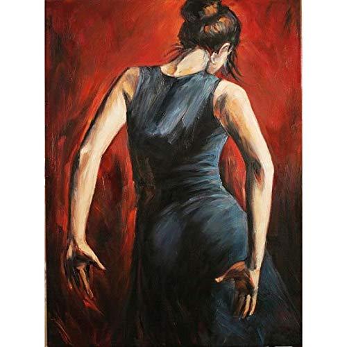 KDLLK Pintura al óleo de Bailarina Flamenca Moderna para decoración de Pared de Sala de Estar Lienzo Moderno Arte Mujer Pintura Pintada a Mano