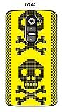 Onozo Carcasa LG g2â Design de Calavera con Negro Fondo Amarillo