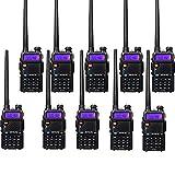 Retevis RT-5R Two Way Radio VHF/UHF Radio 128CH FM 2-Way Radios Long Range Walkie Talkies (10 Pack)