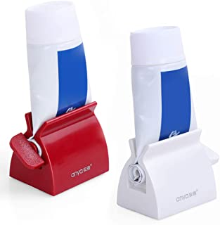 Ostrichy Toothpaste Squeezer, Set of 2 Rolling Toothpaste Tube Squeezers Toothpaste Tube Holder Multifunction Manual Rotate Toothpaste Dispenser Tube Squeezer Tool Stand for Bathroom