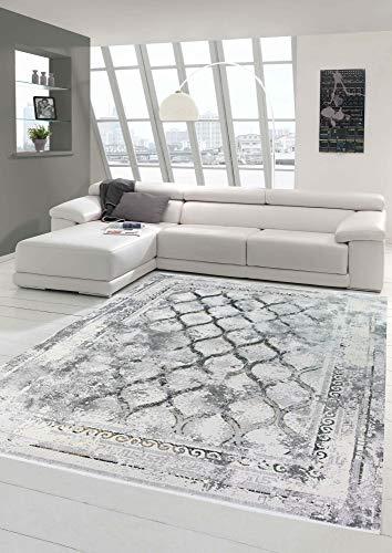 Wollteppich Vintage Teppich Retro Design in grau beige Größe 200 x 290 cm