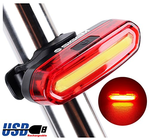 SIGEM Bike Tail Light, Headlight, Ultra Bright & USB Rechargeable, Bicycle Flashing Rear taillight, LED Safety Warning Strobe Head Light, Also for Helmet and Backpack 120 Lumens (Red)