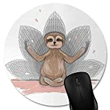 Knseva Sloth Round Mouse Pad, Cute Baby Sloth Meditation Lotus Flower Yoga Asana Positions, Circular Mouse Pads Pink Brown Grey