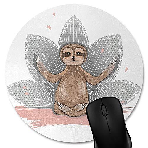 Knseva Sloth Round Mouse Pad, Cute Baby Sloth Meditation Lotus Flower Yoga Asana Positions, Circular Mouse Pads Pink Brown Grey