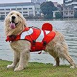 Xiaoyu Giubbotto di Salvataggio per Cani, Gilet Regolabile per Cani con salvagente per Animali Domestici, Giubbotto di Salvataggio novizio per Animali Domestici, Rosso, S