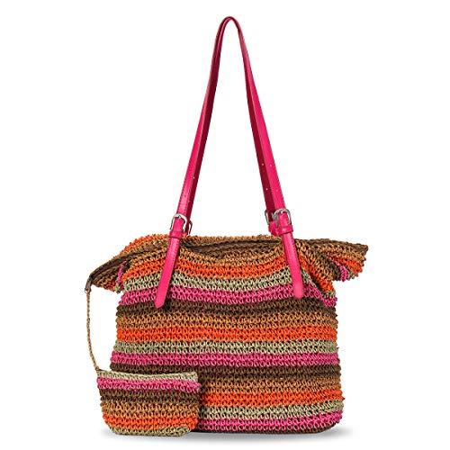 JOSEKO Bolso de compras tejido de paja para mujer, bolso de playa de verano, conjunto de monedero diario de viaje colorido