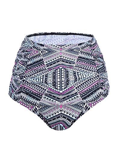 Hilor Tankini für Damen, Vintage-Stil, hohe Taille, Badehose Gr. 50, Seitlich plissiertes graues Bohemia-Muster.