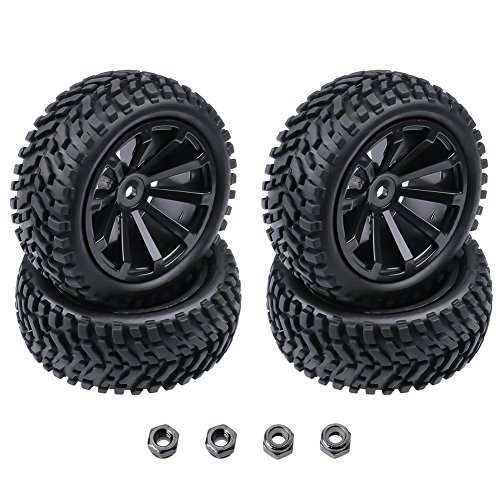 4-Pack HobbyPark OD 2.99 inch / 76mm Rubber RC Car Tires & Wheel Rims Foam Inserts 12mm Hex Hub