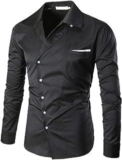 9d1fdd5a0de Yvelands Camisa de otoño para Hombres, Camisa de Manga Larga con Cuello en  Pico de