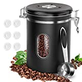Coffee Food Canister with Scoop, HOKEKI Airtight Stainless Steel Food Jars Kitchen Container for...