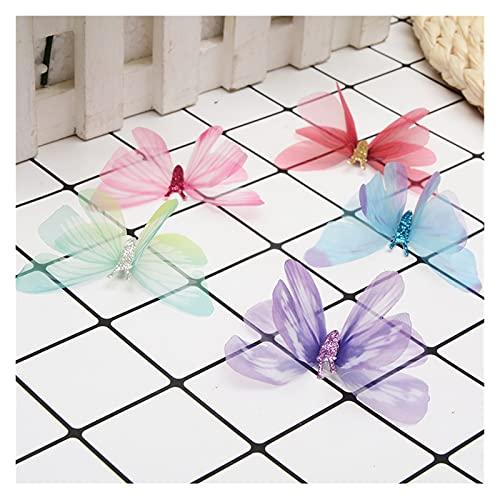 xiaofeng214 20 pcs. De Mariposas Coloridas para Telas y Costura de Ropa Artesanal, Gargantilla de Encaje de Organza, Suministros de Costura de retales para Boda DIY