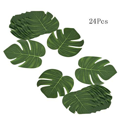 DELSEN 24 Stück Medium Künstlich Tropische Blätter gefälschte Palmblatt Palme Monstera für Hawaiian Luau Jungle Beach Theme Party Dekorationen(20 x 17,5cm)