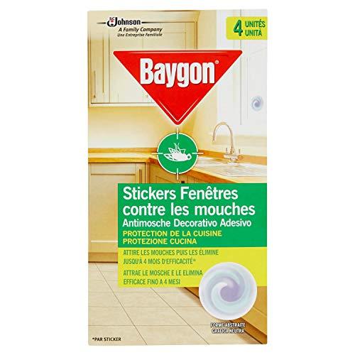 Baygon adesivi vetro anti-mosche, efficienza 4mesi, Insetticida, Set di 4