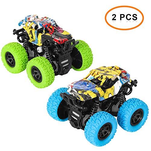 sanlinkee Monstertruck Spielzeug,2 Stück Geländewagen Auto Spielzeug Set, 360° rotierende Stuntspielzeuge für Kinder Jungen Mädchen 3+ Jahren(Blau + Grün)
