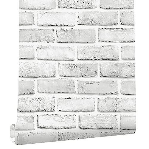 "Cohoo Home White Gray Peel and Stick Wallpaper Brick Contact Paper 120"" ×18"" Faux 3D Brick Wall Paper White Grey Self Adhesive Wallpaper Removable Wallpaper Brick Backsplash Stick and Peel Vinyl Film"