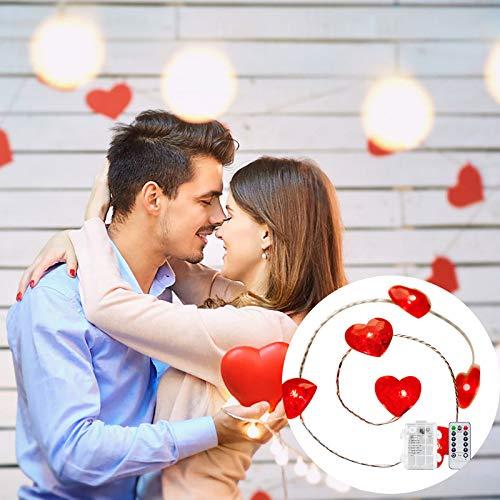 Cadena de luces LED, 5 m, 50 luces LED en forma de corazón de alambre de cobre para decoración del día de San Valentín