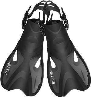 F FYJS Short Swim Fins, Adjustable Dive Flippers Snorkel Fins for Snorkeling Swimming Diving(Black,S/M)