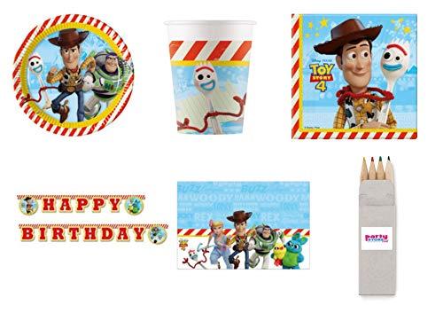 Party Store Web by Casa Dolce Casa Toy Story 4 Juego de vajilla para fiestas de madera y buzz Lightyear – Kit n.° 31 CDC-(8 platos, 8 vasos, 20 servilletas, 1 mantel, 1 guirnalda + regalo)
