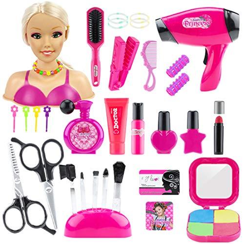 OVERWELL Schminkkopf Puppe Frisierkopf Fur Kinder, 33pcs Styling Head Frisierköpfe für Kinder, inklusiv Kosmetik und Zubehör