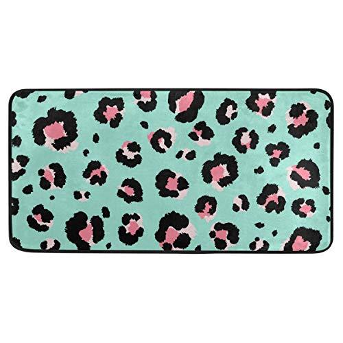 Bardic anti-slip deurmat luipaard print en roze lippen deurmat machine wasbare slaapkamer mat voor wonen dineren kamer slaapkamer keuken,50.8x99cm