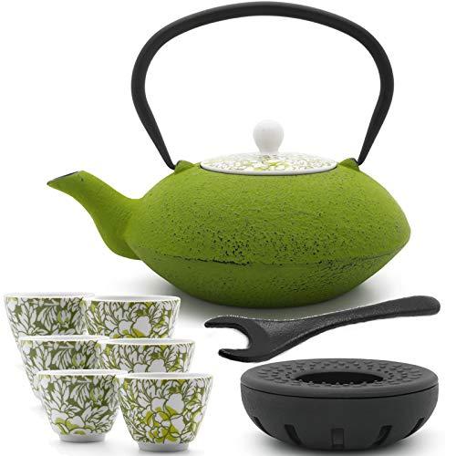 Bredemeijer grüne asiatische Teekanne 1.2 L Gusseisen Set mit Tee-Filter-Sieb gusseisernen Stövchen 6 Porzellan-Teebecher & Deckelheber