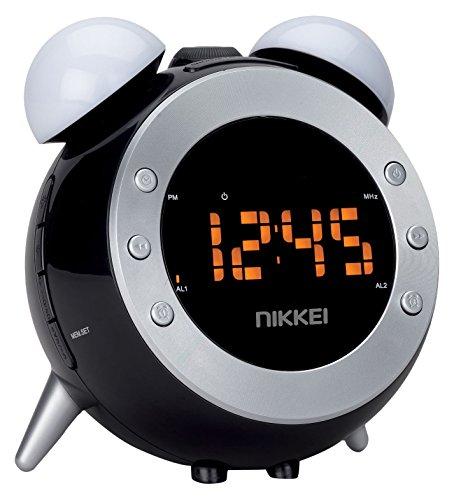 Nikkei NR280P Radiowekker met projectie, Radioclock, kinderwekker, digitale wekkerradio met FM-radio en licht, wake-up lichtfunctie, twee wektijden, sluimerfunctie, zwart