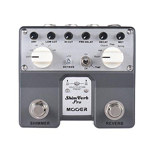 Muslady MOOER ShimVerb Pro Pedal de Reverberación de Efectos de Guitarra Digital con Brillo Efecto de Reverberación 5 Modos Doble Interruptor de Pedal