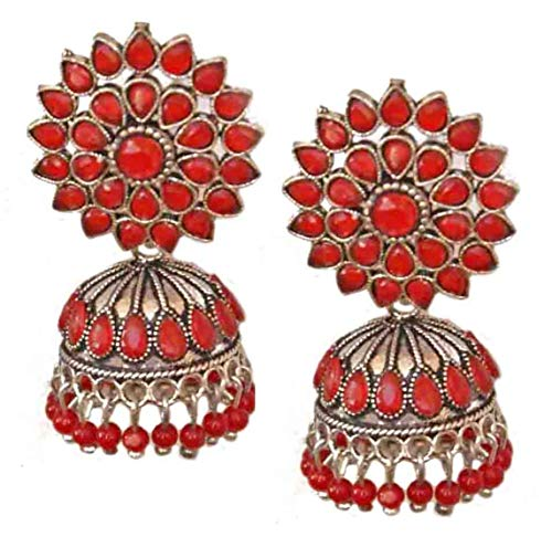 Pahal Ethnic Bollywood Oxidized Red Pearl Kundan Big Silver Jhumka Earrings Indian Bollywood Bridal Jewelry for Women