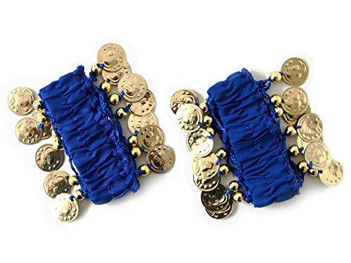 MyBeautyworld24 Belly-Dance Handkette (Paar) dunkelblau goldfarbenen Münzen Armband Handschmuck Fasching Bauchtanzen