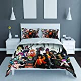 Duvet Cover Set Anime 3Pcs Bedding Set 3D Cartoon Cover Collection Bedding Breathable Comforter Cover Printed Bed Set/Twin (No Comforter)