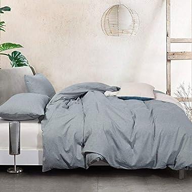 ATsense Bedding Set SEAMOUR Duvet Cover, CA King, Grey