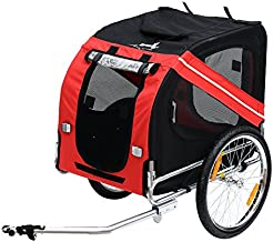 Aosom Bike Trailer Cargo Cart for Dogs and Pets with 3 Entrances Large Wheels for Off-Road & Mesh Screen - Red/Black