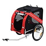 Aosom Bike Trailer Cargo Cart for Dogs and Pets with 3 Entrances Large Wheels...