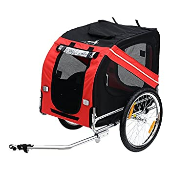 Aosom Dog Bike Trailer Pet Cart Bicycle Wagon Cargo Carrier Attachment for Travel with 3 Entrances Large Wheels for Off-Road & Mesh Screen - Red/Black