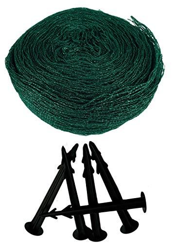 Novatool Teichnetz 8x8m I inkl. 18x Bodenanker I Grün I 18x18 mm I mehrjährig I Netz für Teich Teichabdeckung Netz Laubschutznetz Netz für Pool Vogelabwehrnetz Geflügelnetze