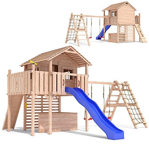 Preisvergleich Produktbild MAXIMO Spielturm Baumhaus Stelzenhaus Schaukel Kletterturm Rutsche Holz (erweiterter Schaukelanbau)