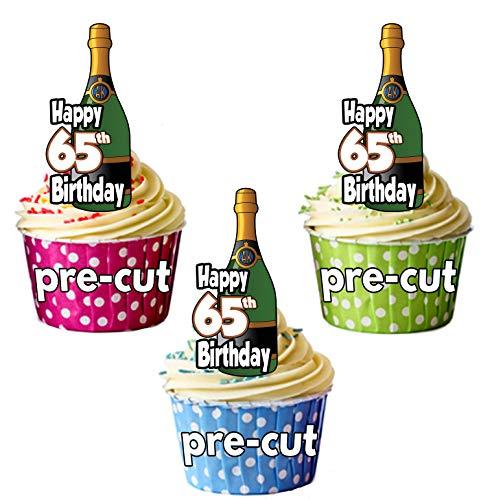 Gelukkige 65-jarige Champagne flessen - Precut Edible Cupcake Toppers/Cake Decoraties - Heren - Dames - Vieringen - Party Pack of 12