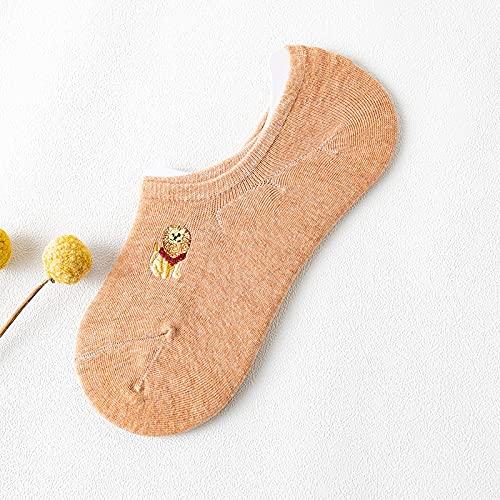GYHJG Calcetines Invisibles De Verano De Silicona Antideslizantes Calcetines De Algodón con Tacón Antideslizante Calcetines De Bordado De Dibujos Animados Lindos Japoneses Femeninos 10 Pares del Lote