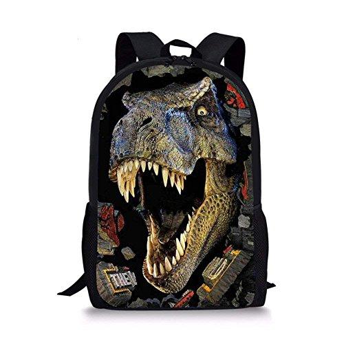 NETILGEN Dinosaur Print School Bookbag Kids Boys Adjustable Shoulder Rucksack ,Travel Satchel with Bottle Pocket