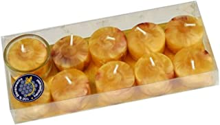 Kerzen-Manufaktur 10er Pack Teelichte, 100% Bienenwachs, inkl. 1 Teelichtglas, Natur marmoriert, Wachskerzen