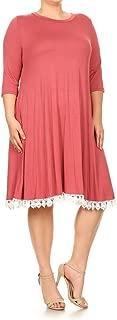 Women's A-Line Midi Plus Dress with Crochet Hemline