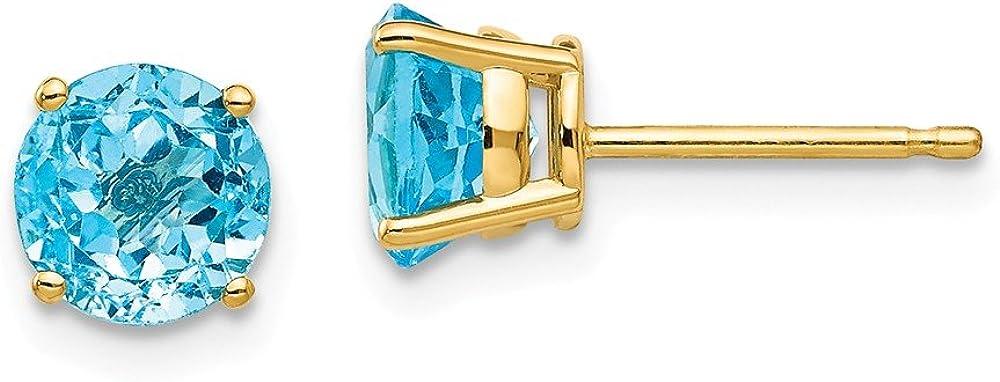 Solid 14k Yellow Gold 6mm Blue Topaz Studs Earrings 6mm