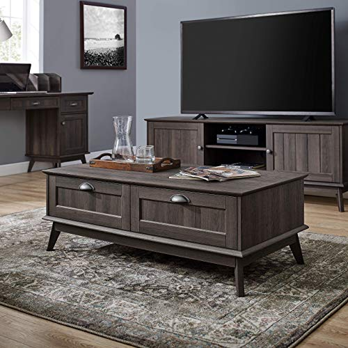 Newport Series Tall Center Coffee Table with Two Fully Extended Drawers | Sturdy and Stylish | Easy...